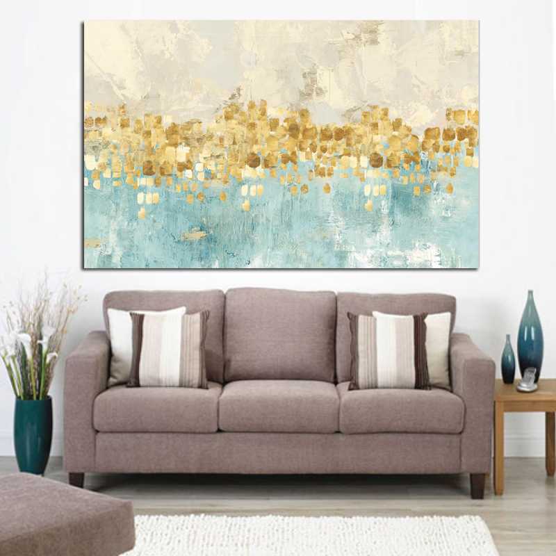 Frame Abstract Gold Money Sea Wave Oil Painting on Canvas Poster and Print Modern Art Wall Picture for Living Room Cuadros Decor