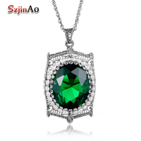 Szjinao 100% Real 925 Sterling Silver Locket Photo Frame Natural Pearl Pendant Necklace Antique Green Emerald Necklace For Women