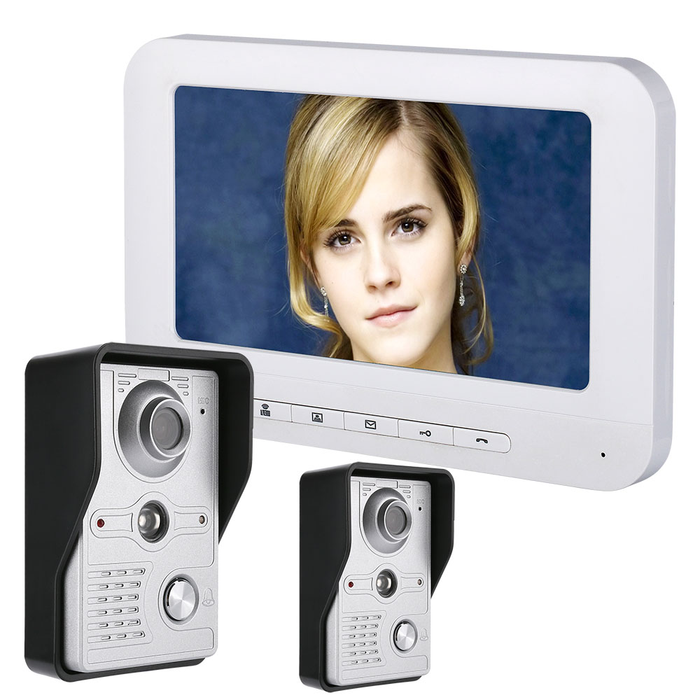 7 Inch LCD Video Door Phone Doorbell Intercom Kit 2-camera 1-monitor Night Vision With IR-CUT HD 700TVL Camera