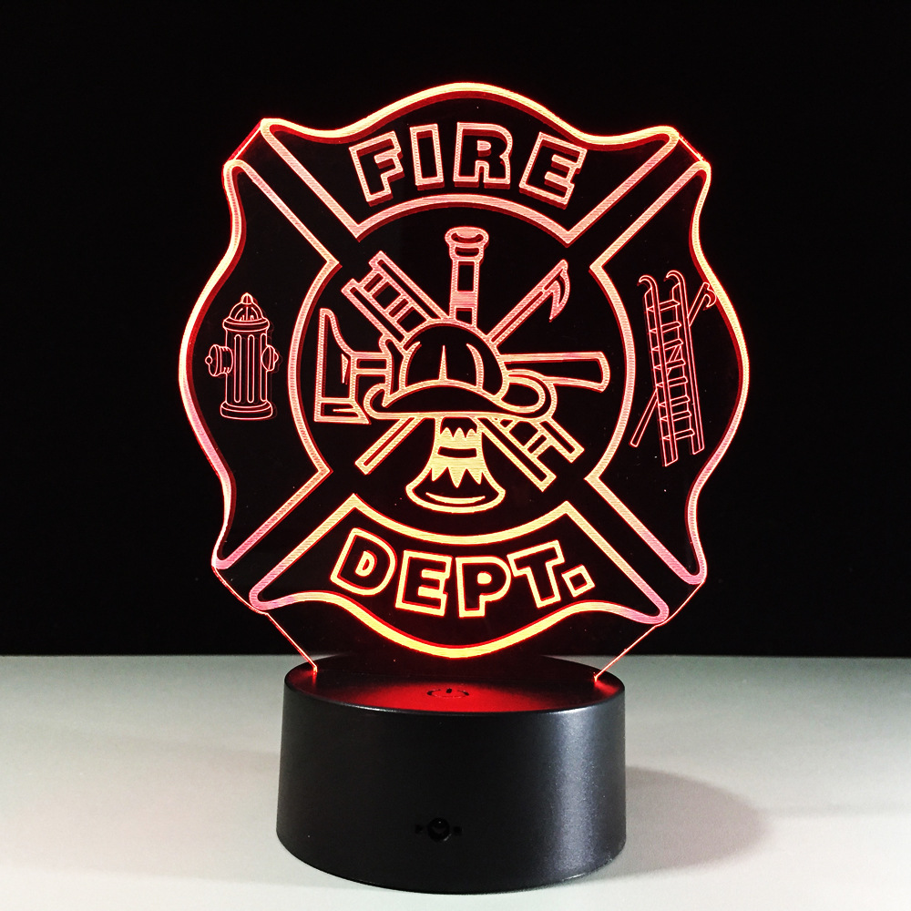 Decoration Fire Department Sign Model 7 Color Changing Atmosphere Gradient Visual Led Night Light Illusion Lamp Festival Lantern