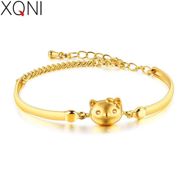 8ffb6b40a XQNI Lusciousness Style Hello Kitty Design Wedding Women Bracelet Jewelry  Gold Color Anti-allergy Female Romantic Gift
