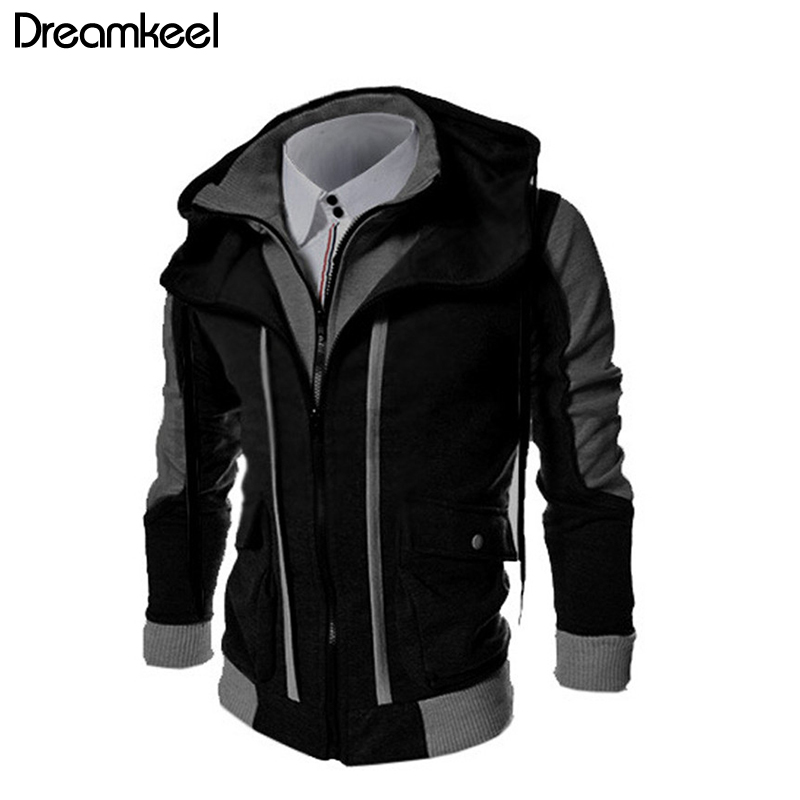 Men's Clothing Missky New Autumn Spring Men Sweatshirt Matching Color Fleece Cardigan Hoodie Windproof Warm Drawstring Jacket Male Clothes Cheapest Price From Our Site