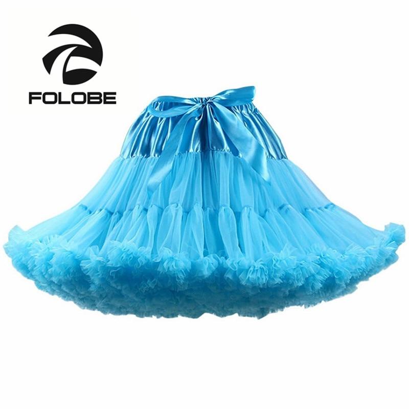 FOLOBE Sky Blue Ballet Dancewear Skirt Ball Gown Tulle Tutu Skirts Petticoat Women Adult tutu Faldas Saias Femininas TT004