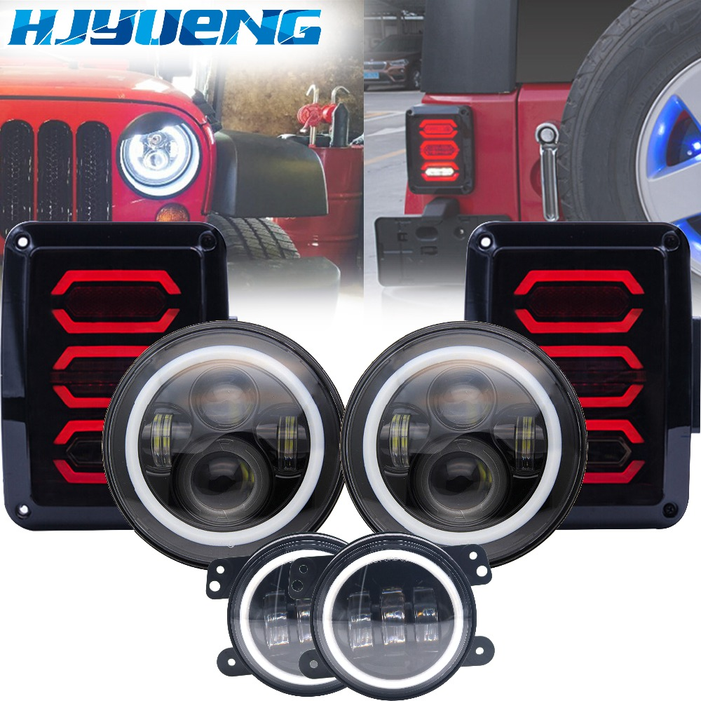 HJYUENG Wrangler JK LED 7inch Round Headlight H4 High Low Beam+4 inch Fog Lights + Led Tail Light For Jeep Wrangler JK 2007-2015