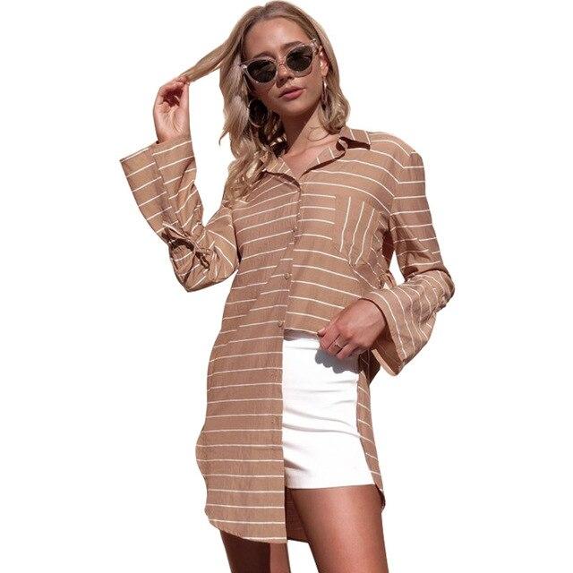 Aibo Carla 2018 Fashion Irregular Women Autumn Shirt Sexy Flare Sleeve Striped Loose Long Shirt Vintage Cotton Shirt High Street