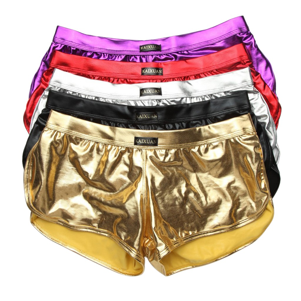 Shorts Boxer Underwear Trunks Sexy-Design Wetlook Mens Cool Patent For Male Shinny