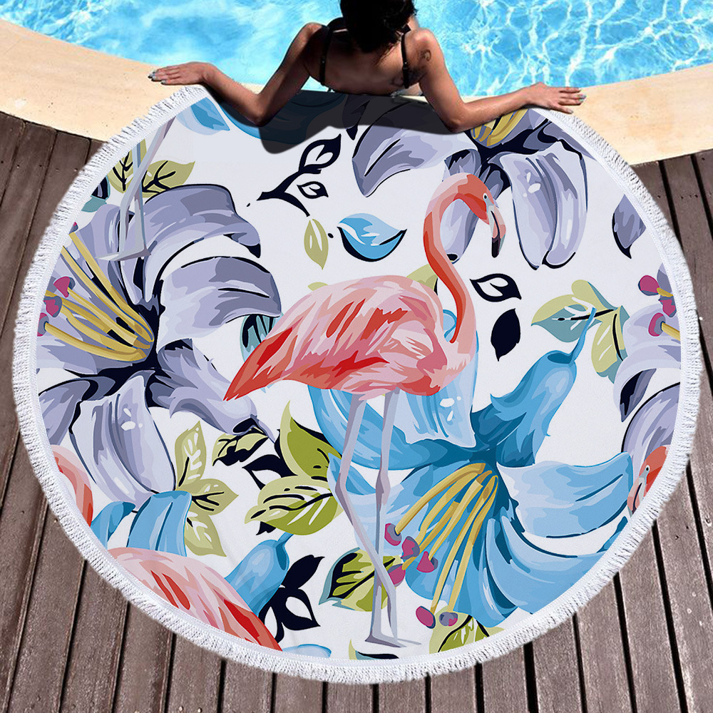 YI LIN 150CM Round Microfibre Towel Fashion Flamingo Printing Beach Towels Game Blanket Mat Tapestry Swimming Bath