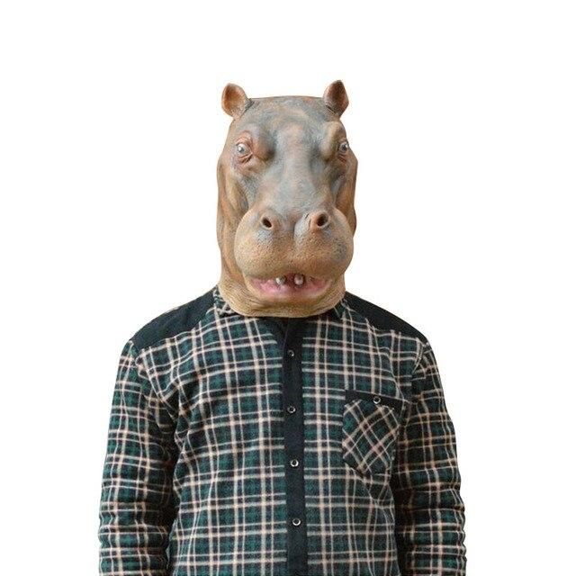 Hippopotame Pleine Tête Masque Animal Drôle Réaliste Latex Masque