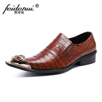 Plus Size Luxury Pointed Toe Slip On Man Wedding Party Loafers Italian Genuine Leather Men S