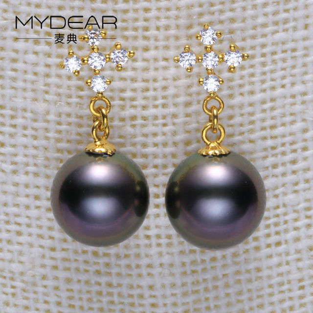 MYDEAR Pearl Jewelry Retro Natural 8-9mm Southsea/Tahitian Glossy Pearls Earrings Hot New Real Gold Drop Earrings For Women
