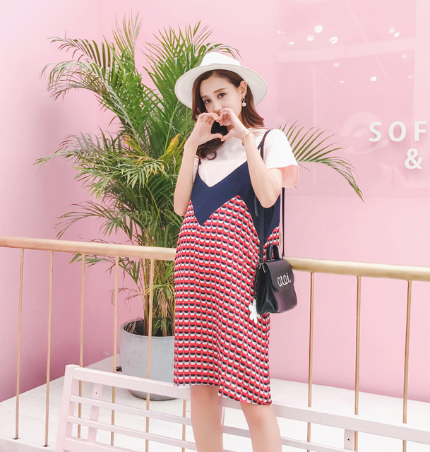 a7e630c1d4f Pengpious Korean style maternity temperament v-neck dress color matching t- shirt +strap two-piece dress pregnant women clothes