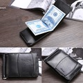 Hot sale  Solid  Leather Men Money Clip Wallet Slip Metal Short Wallet Men Leather Wallet 2 Folds Open Clamp Clip For Cash