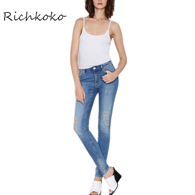 Richkoko Knee Broken Hole Denim Pencil Jeans Vintage Whisker Low Wasit Blue Wash Pants Casual Leisure Basic Skinny Jeans