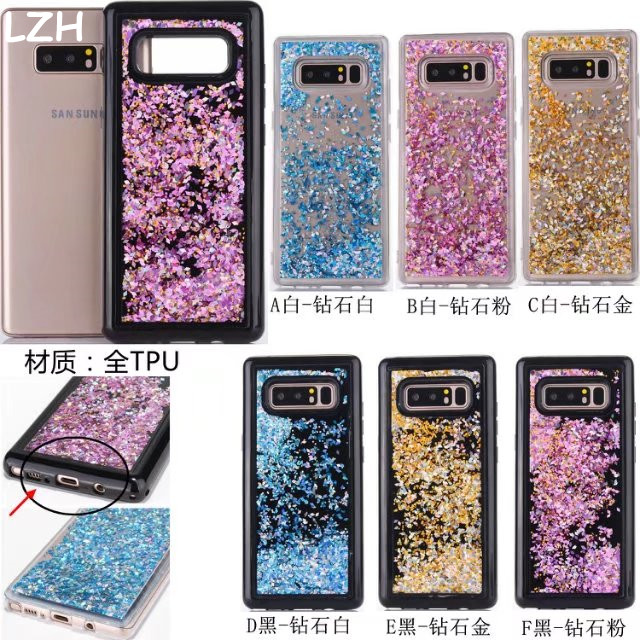 Half-wrapped Case Glitter Liquid Diamond Quicksand Dynamic Celular Fundas Case For Samsung Galaxy Note 8 N950f Bling Sand Black Cover Coque Shell Let Our Commodities Go To The World