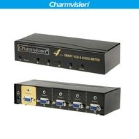 Charmvision VA401R 4 Порты VGA 3,5 мм аудио коммутатор Авто консервирования удаленного Управление VGA L/R голос одновременно переключатель управление