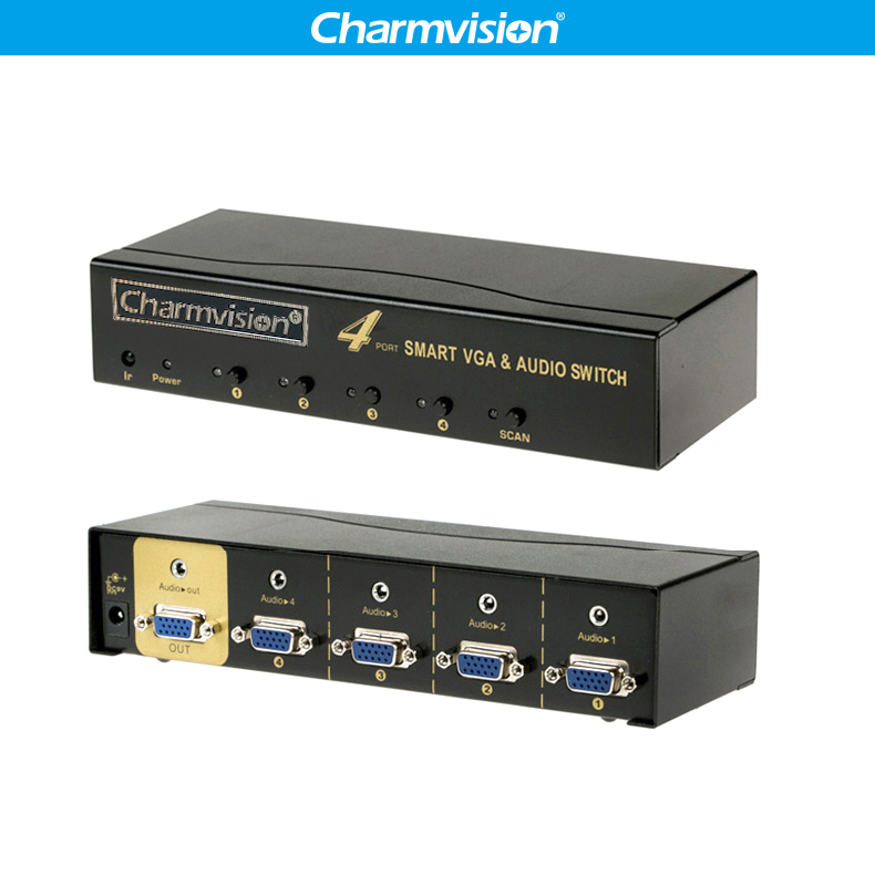 Charmvision VA401R 4 Ports VGA 3.5mm Audio Switcher Auto Canning Remote Control VGA L/R Voice Simultaneously Switch Control