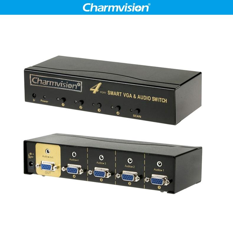 Charmvision VA401R 4 Ports VGA 3.5mm Audio Switcher Auto Canning Remote Control VGA L/R Voice Simultaneously Switch Control