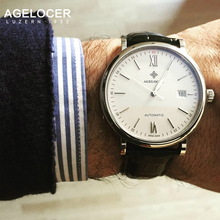 Agelocer Watch Swiss Brand Wrist Watch For Girls Russian Vintage Black Leather Strap Steel Surface Analog Watches Ship By EMS