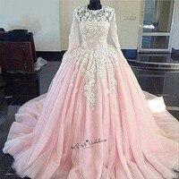 Princess White Lace Flowers Pink Wedding Dress Boho Puffy Ball Gown Bride Dresses Long Sleeve Church Turkey Wedding Gowns Boda