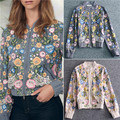 Alta Qualidade Nova Moda Primavera 2017 das Mulheres do Revestimento da Pista de Luxo Bordados de Flores Frisado Casaco Bomber Jacket Grey Apricot Curto