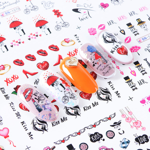 Image 2 - 12pcs Romantic Valentines Water Decals Sliders Nail Art Decorations Stickers Sexy Lips Flower Heart Tattoo Wraps JIBN1069 1080