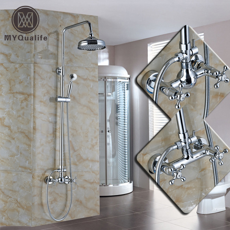Chrome Finished Wall Mounted Bath & Shower Faucets Dual Handles Height Adjustable 8 Inch Rainfall Shower Head Mixer Taps