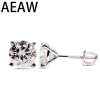 Solid 18K White Gold 1.0 ctw Round Brilliant Cut Moissanite Stud Earrings For Women Fine Jewelry