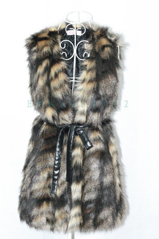 Womens Fashion V-neck Long Design Faux Fur Vest Sleeveless GILET Outwear Dark Color - kunsilane outdoorsport Store store