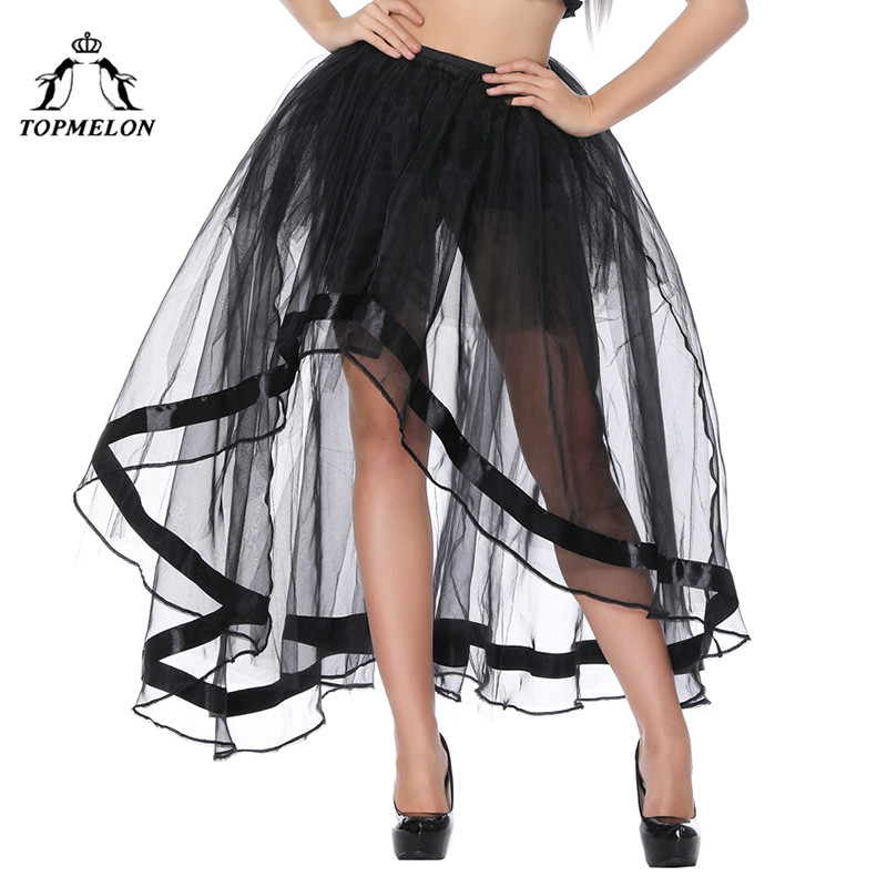 TOPMELON  Long Corset Steampunk Skirt Sexy Transparent Tulle Mesh Skirts For Women Female's Black Gothic Skirts For Shows Party