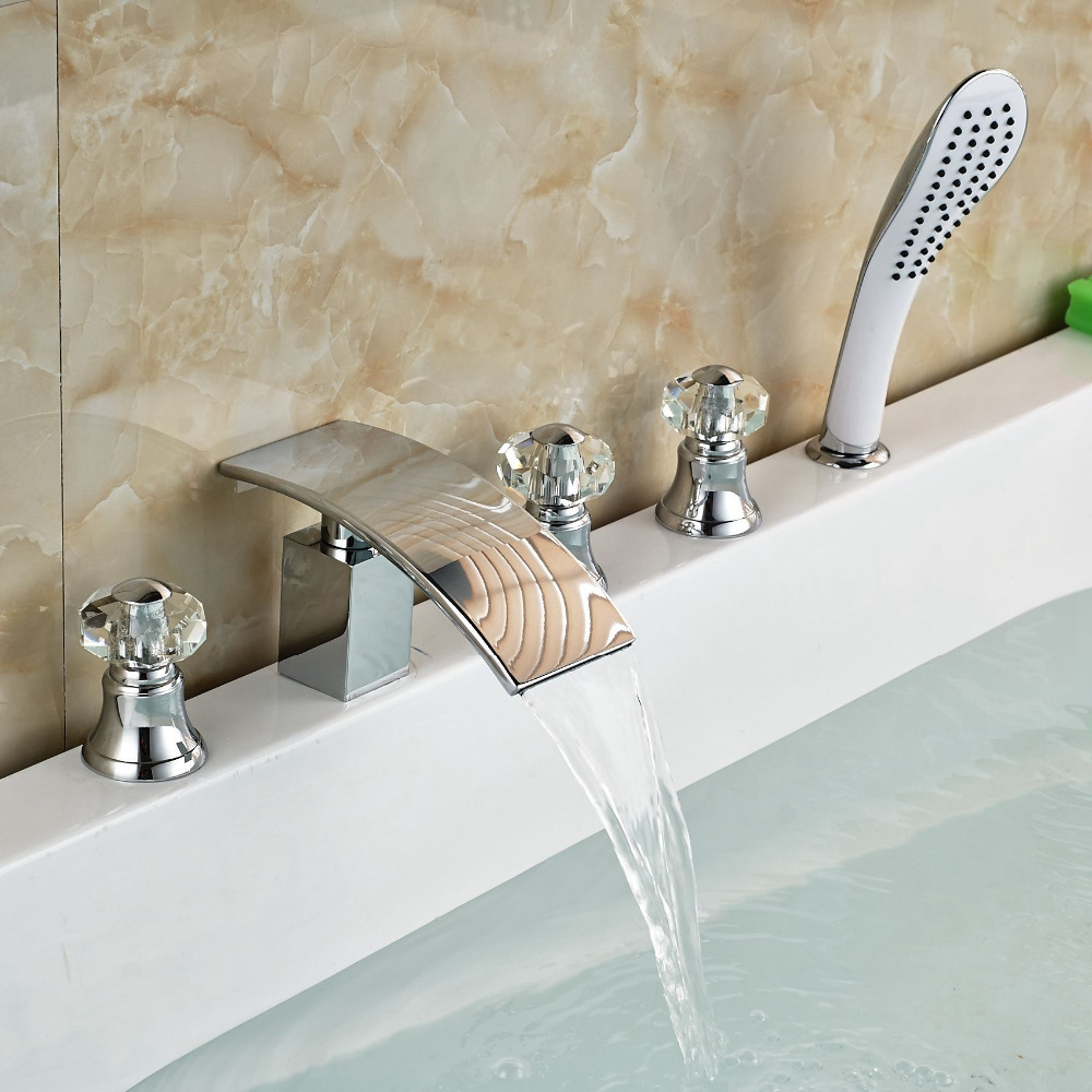 Chrome Brass Waterfall Widespread Bathtub Faucet Tap with Hand Shower Deck Mount 5pcs Mixer Taps