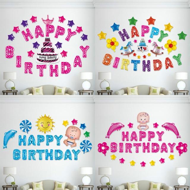 1 Satz Cartoon Folienballon Kinder Glucklich Geburtstag Baby Shower