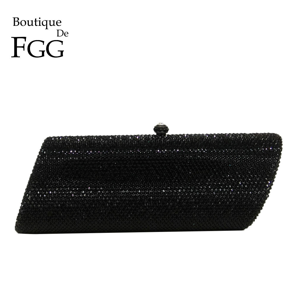 Boutique De FGG Bling Black Trapezoid Crystal Clutches Evening Bag Women Wedding Party Chain Shoulder Handbag Purse Metal Clutch