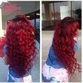 7A Two Tone Ombre Red Brazilian Virgin Hair Body Wave with closure Human Hair 3 Bundles Brazilian Body Wave Red Ombre Hair Weave