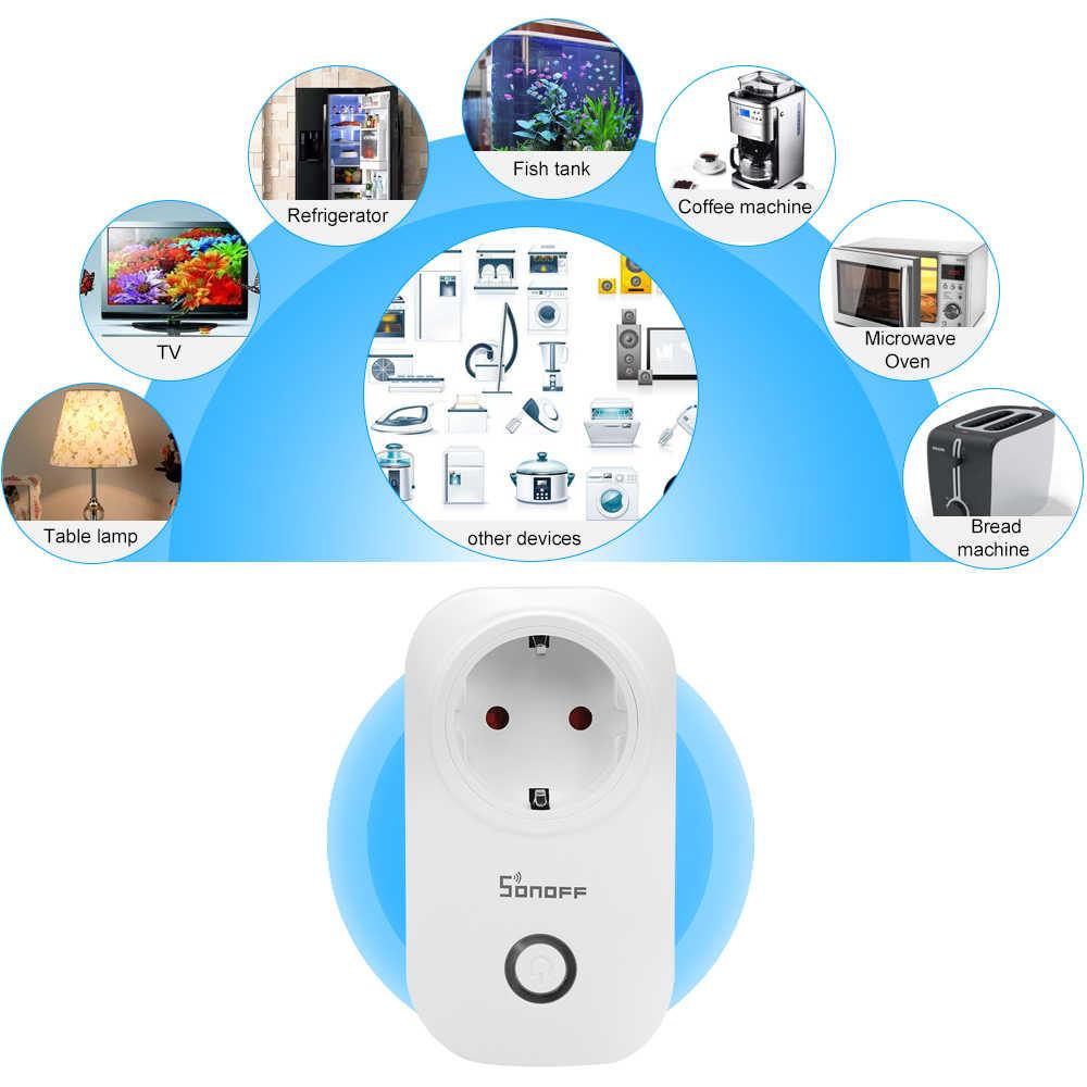 5 sztuk Sonoff S20 WIFI gniazdo moduł przełączający WB USA UE wtyczka rozrządu inteligentny przełącznik dla automatyki inteligentnego domu praca z Alexa 10A 220V