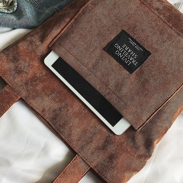 Women Corduroy Zipper Shoulder Bag Cotton Canvas Handbag  5