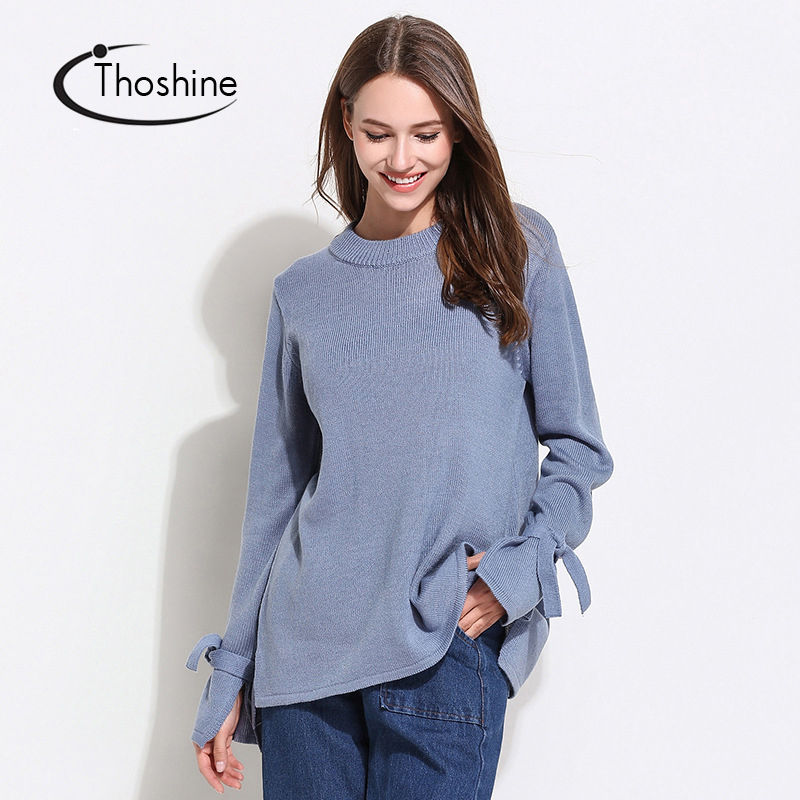 Detail Feedback Questions about Thoshine Brand Spring Autumn Women Knitted  Sweaters Bow Sleeve Pullover Female Fashion Long Jumpers Casual Coats Plus  Size ... 02cc56889