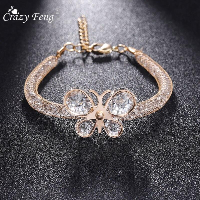 Crazy Feng Charm Cz Zirconia Women Bracelets Butterfly Flower Adjustable Elastic Cuff Wrap Bracelet Bangles Statement Jewllery