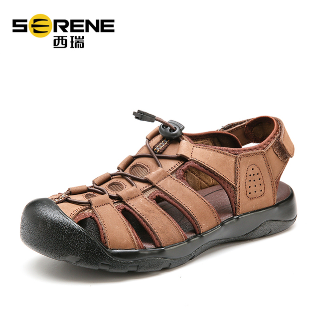 Men's Outdoor Summer Shoes Unisex Breathable Beach Sandals Genuine Leather Sandals Durable Casual Shoes 2018 Summer Sports Shoes