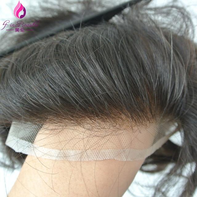 4 В Beautie Европейский Текстура Волос Парик/Тупей Отбеленные Узлы Естественной Границе Волос Французский шнурок система Волос Для мужчин