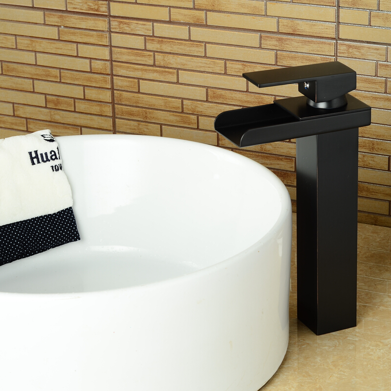 ФОТО Bathroom soild brass oil rubbed bronze high waterfall basin faucet black tall square faucets deck mounted waterfall water tap