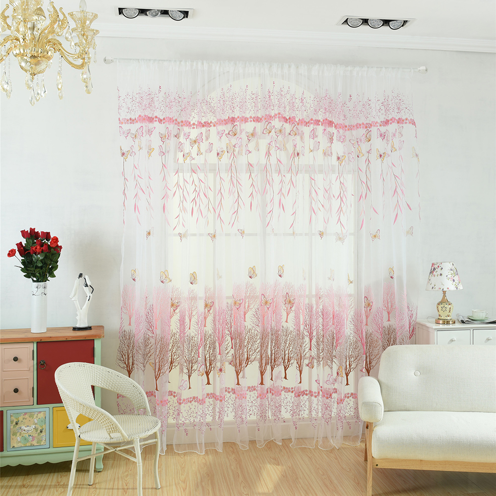 Butterfly Willow Floral Tulle Curtain Balcony Living Room Semi Sheer Blinds Door Room Divider Voile Drapes