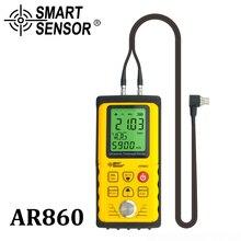 אולטרסאונד עובי מד דיגיטלי גיליון מתכת מדידת טווח: 1.0 כדי 300mm (פלדה) מהירות קול מטר חכם חיישן AR860