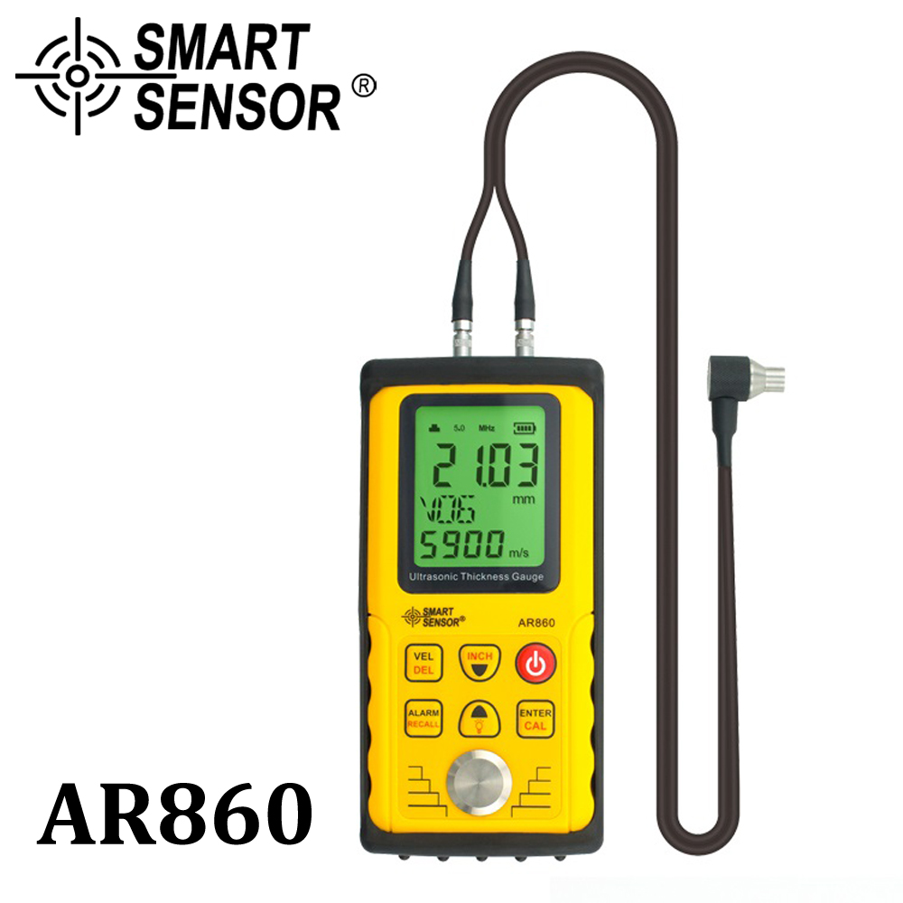 Ultrasonic medidor de espessura Digital de chapa metálica faixa De Medição: 1.0 a 300mm (de aço) sensor Inteligente Medidor de Velocidade Do som AR860