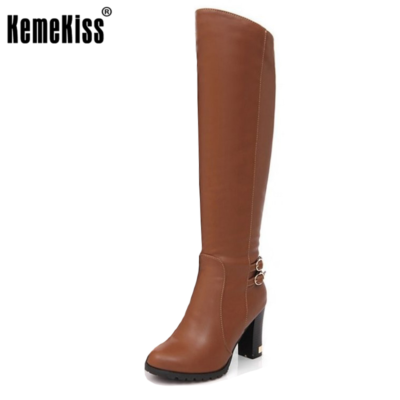 KemeKiss  women high heel over knee boots ladies fashion long snow boot warm winter botas heels footwear shoes P6870 size 34-43 winter warm snow boots cotton shoes flat heels knee high boots women boots wholesale high quality