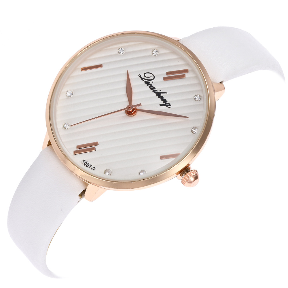 Geneva Meteor Shower Pattern Simple Scale Alloy Dial White Leather Strap Ladies Couple Simple Quartz Watch Women Watches C952