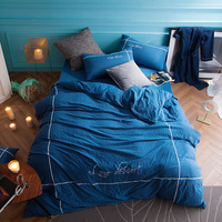 Classical Luxury Bamboo Fiber Washed Cotton Bedding Sets Flower Pattern Deep Blue Solid Linens Queen King