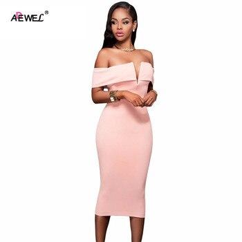 ADEWEL 2019 Women Party Dresses Bodycon Slash Neck Vestido De Festa Off-the-shoulder Midi Dress Clubwear Sexy Dress plain slash neck flare sleeve bodycon dress