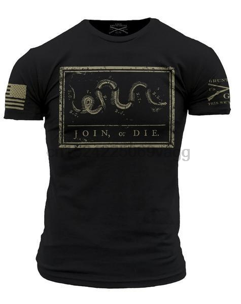 7e437f364 Join Or Die Throwback T-Shirt- Grunt Style Mens Graphic Military Tee Shirt