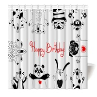 HommomH Shower Curtain Weights Resistant Waterproof Fabric Happy birthday party panda fox rabbit sheep pig dog