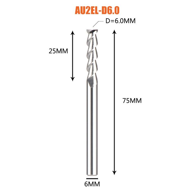 1 pc 3 флейты фрезы вольфрамового сплава концом ЧПУ фреза алюминий фреза для алюминия и деревообрабатывающие - Длина режущей кромки: 1PC-AU2EL-D6.0